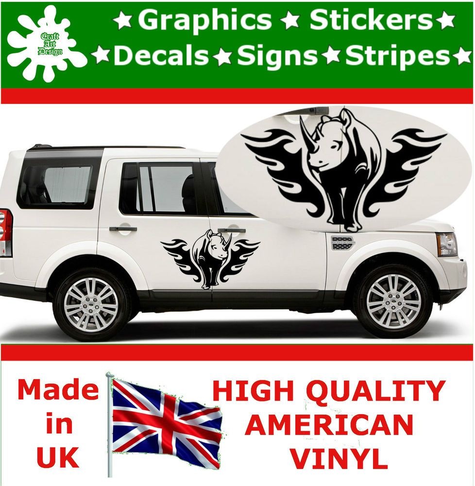 X Large Car Side Rhino Flame Stickers Fire Art Graphic X - Flame stikers for car
