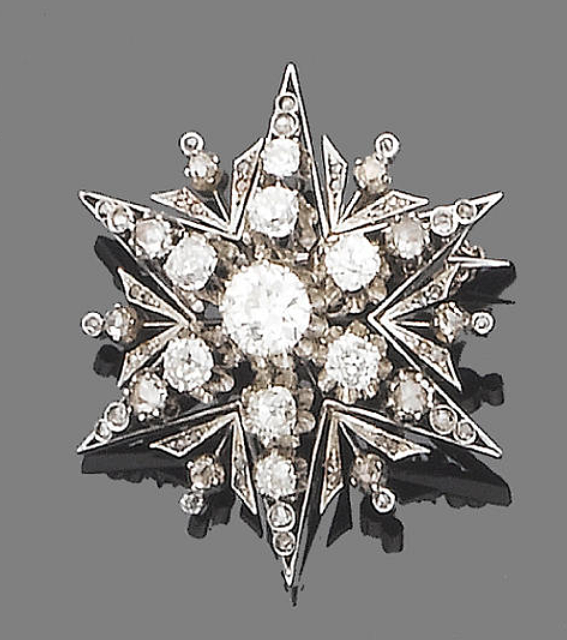 A diamond star brooch  The six-ray star set throughout with old brilliant and rose-cut diamonds, the largest to the centre, principal diamond approx. 1.00ct., remaining old brilliant-cut diamonds approx. 1.90ct. total., width 4.0cm. VIctorian or Victorian style.