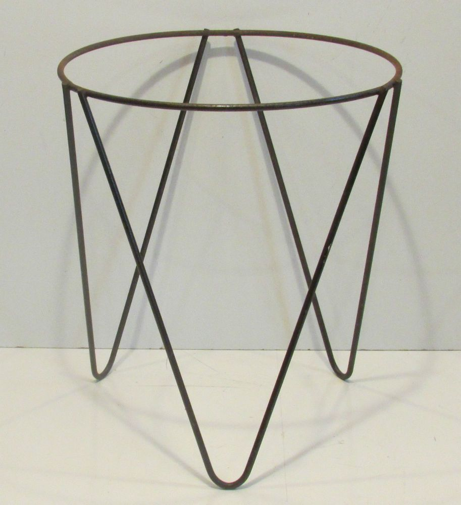 Vintage Metal Mid Century Tripod Hairpin Plant Stand Holder Iron Wire Stands