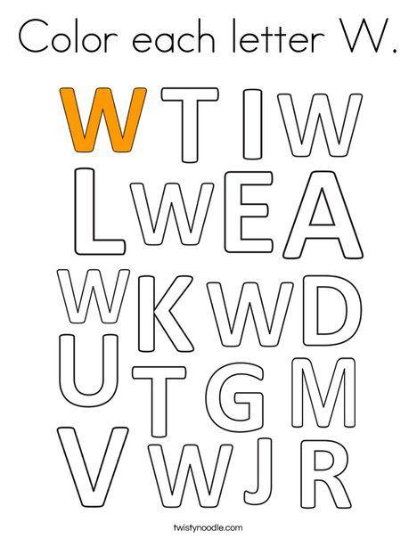 Color each letter W Coloring Page - Twisty Noodle | Letter ...