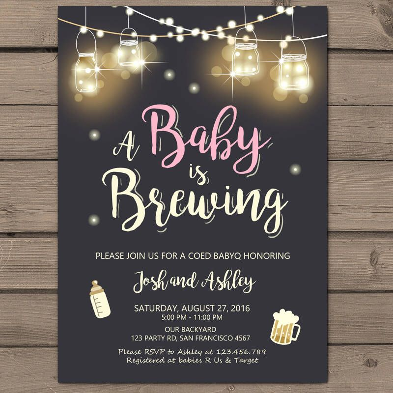 Baby Brewing Invitation Coed Baby shower BBQ invitation co-ed shower ...