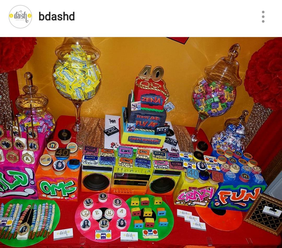 90s theme dessert table and decor adult birthday party for Table 52 dessert