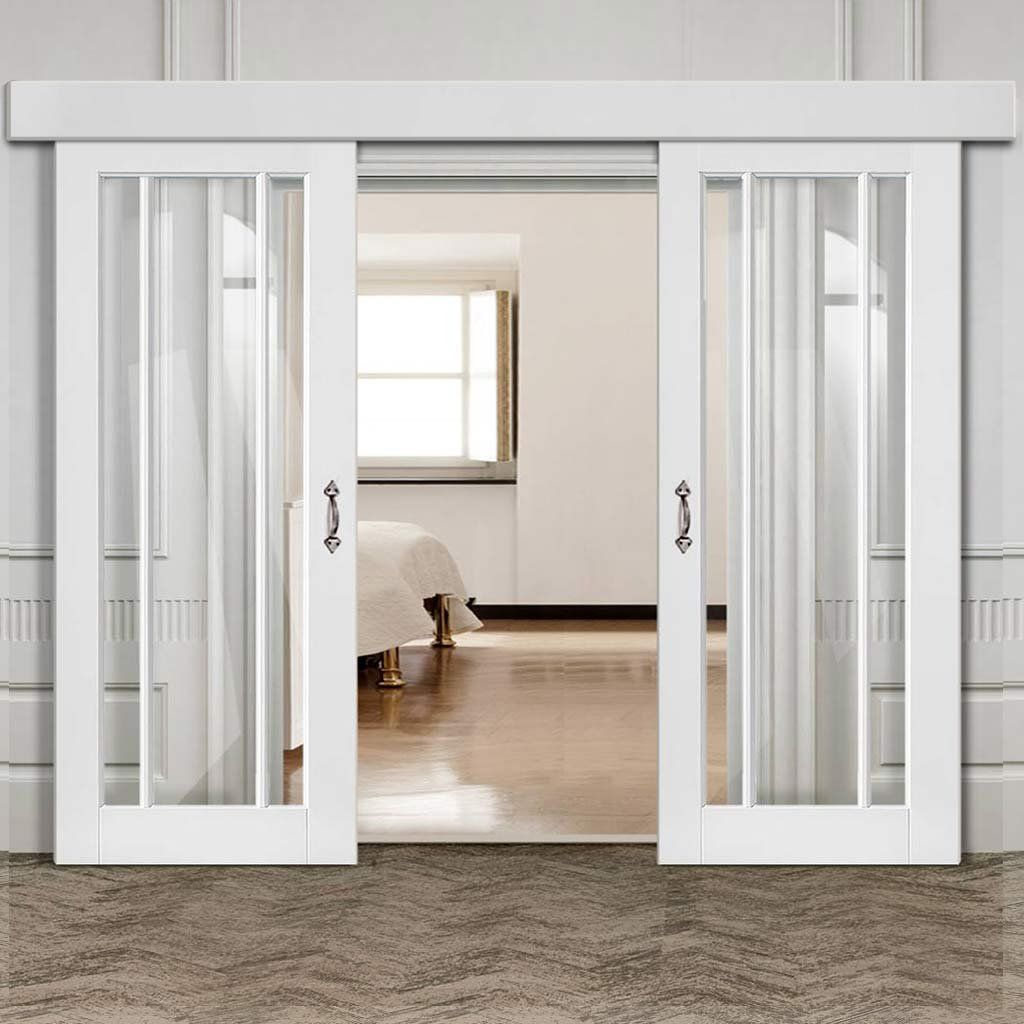 Double Sliding Door Wall Track Worcester 3 Pane Doors Clear Glass White Primed Barn Style Sliding Doors Sliding Doors Interior Double Sliding Doors