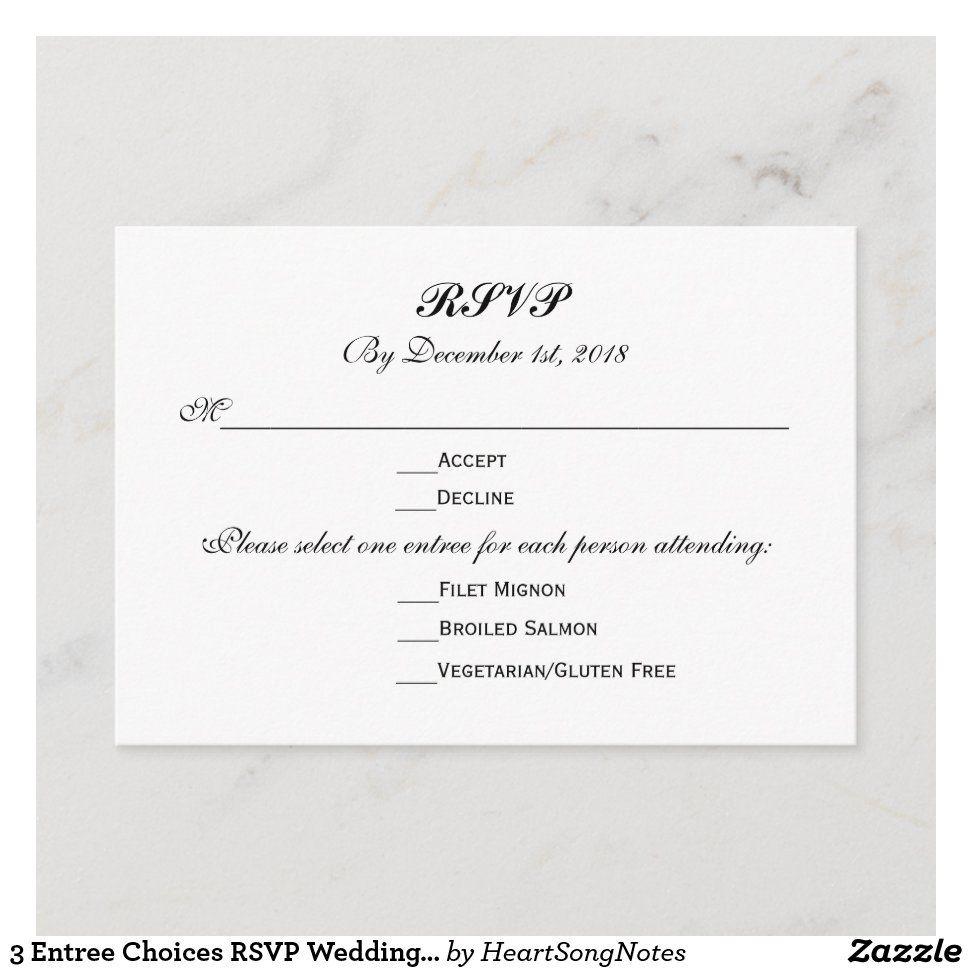 3 Entree Choices Rsvp Wedding Response Reply Zazzle Com Addressing Wedding Invitations Zazzle Wedding Invitations Monogram Wedding Invitations