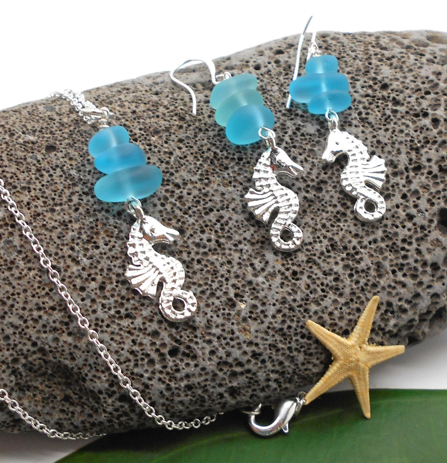 Seahorse Necklace And Earring Set With Turquoise Beach Gl Shell Jewelry Wedding Sea Horse By Haolehaiku On