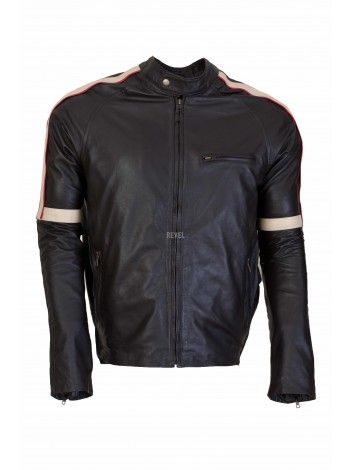 $257-BEST rates. Best Leather Jackets online sale. GRAND SALE on Men's Leather Sports Racing Jackets. 100% Premium quality leather. Pitch Black with contrast white strip running over the shoulders. #sale biker leather jacket #affordable biker leather jacket #cheap biker leather jacket #custom made biker leather jacket #buy biker leather jacket.