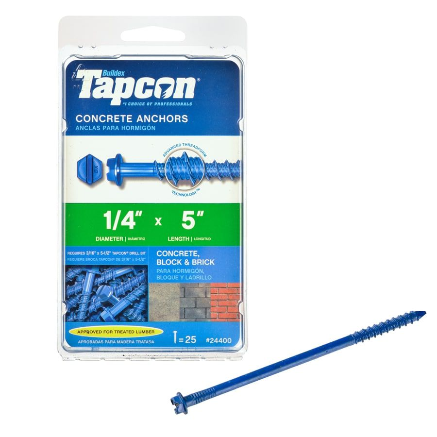 Tapcon 25 Pack 5 In X 1 4 In Concrete Anchors Lowes Com In 2020 Concrete Anchors Concrete Concrete Block Walls