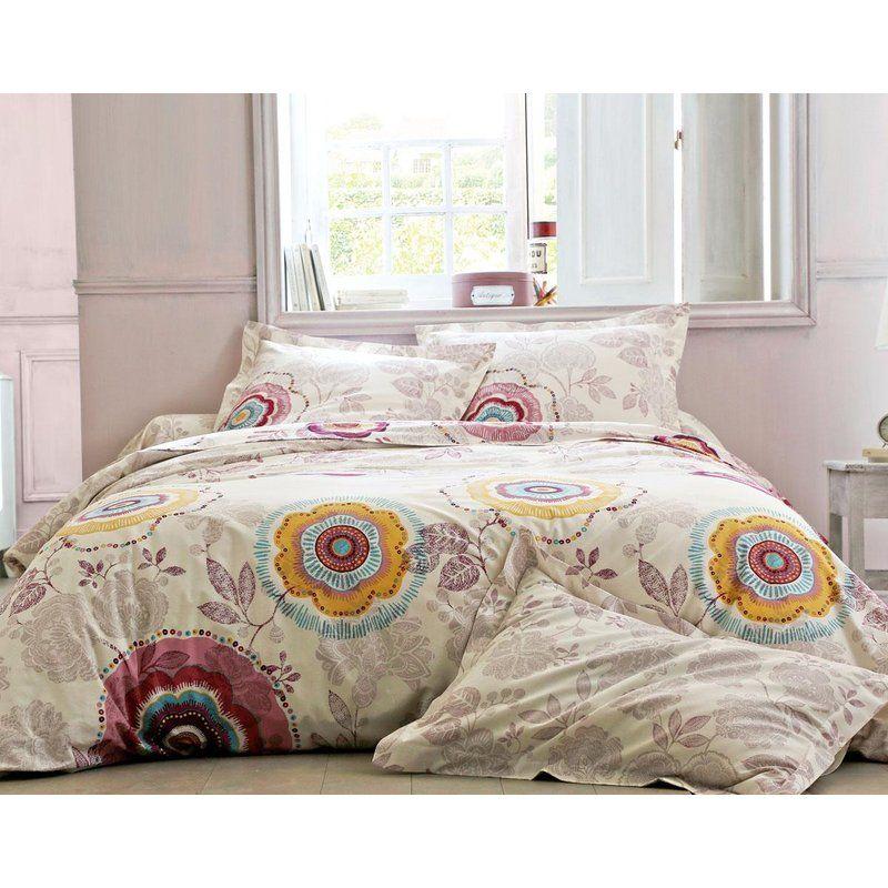 housse de couette imprim e fleurs et perles becquet. Black Bedroom Furniture Sets. Home Design Ideas
