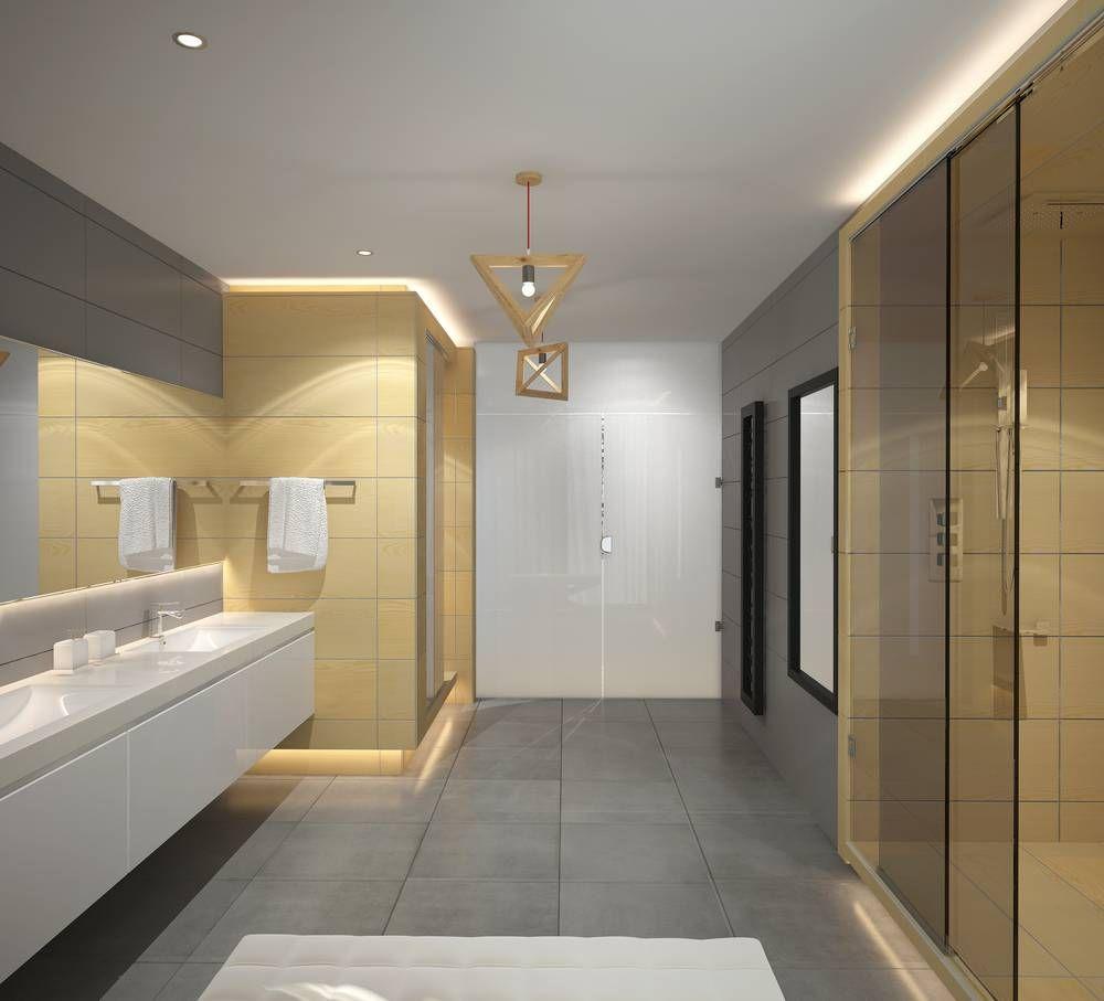 Stilvolle Warme Indirekte Beleuchtung In Einem Modernen Bad Indirekte Beleuchtung Led Badezimmer Innenausstattung Badezimmereinrichtung