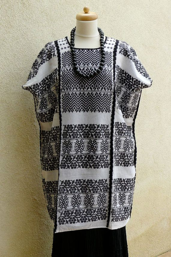Collectors Mexican Huipil Tunic white black SuperFino traditional ...