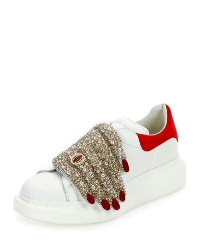 4125691e2106 S0FSB Alexander McQueen Flat Leather Sneaker w Jeweled Hand, Multi ...