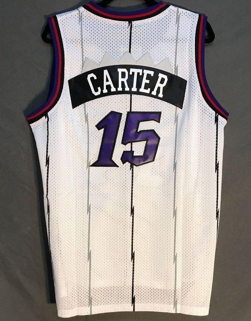 best sneakers 8dbe9 6ebd9 Men 15 Vince Carter Jersey White Toronto Raptors Throwback ...