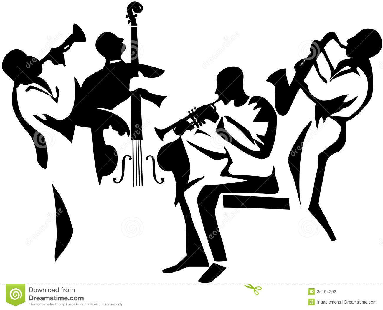 Jazz Musician Silhouettes Jazz Quartet Stylized
