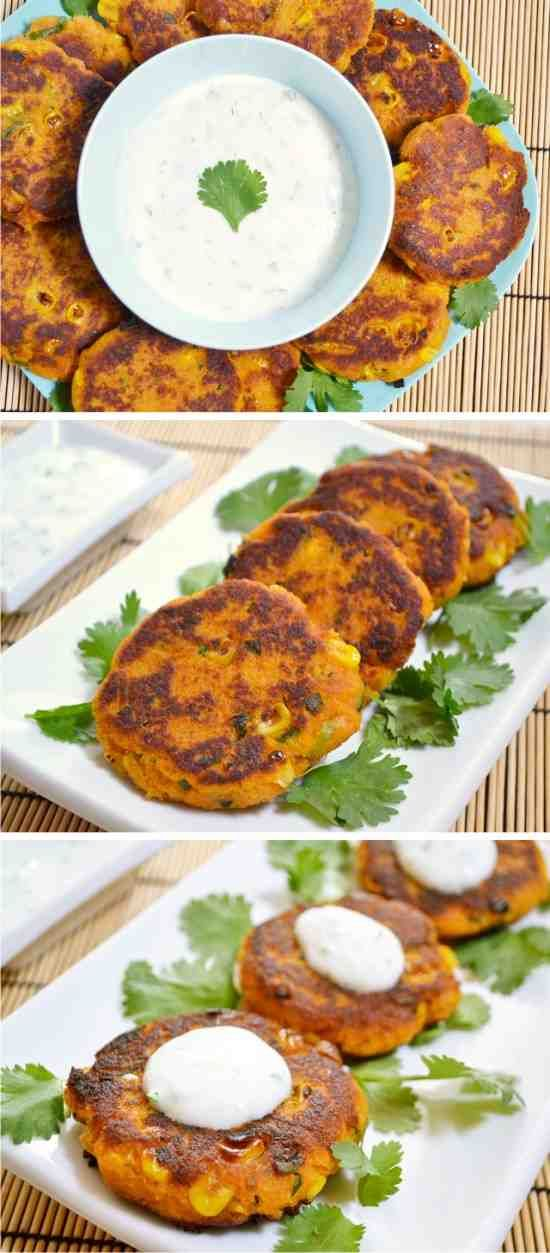 SWEET POTATO CORN CAKES WITH GARLIC DIPPING SAUCE - cakes, corn, garlic, healthy, potato, recipes