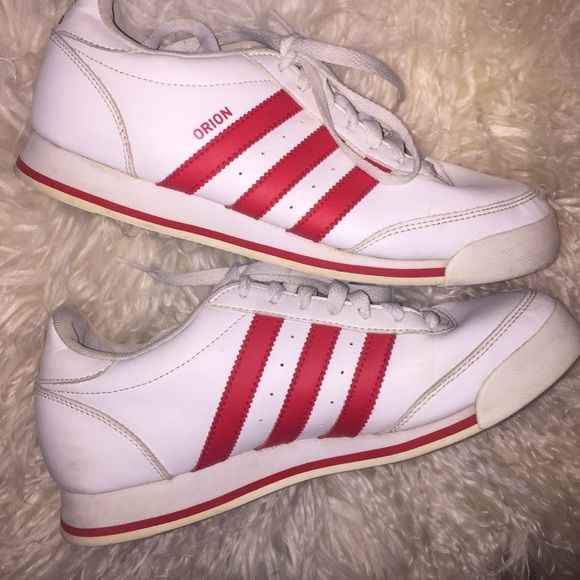 Adidas Orion red and white classic 3 stripe shoes