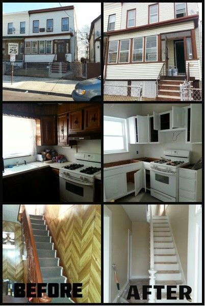 Wow, we forgot how much things have changed at 12 Jersey City. Here are before and after, progress shots of the kitchen and entryway.   We kept the cabinets and had them painted white. New granite and hardware will be installed. Paneling and carpeting was ripped out of the entry. We used @Sherwin-Williams 'China Doll' to brighten up the space..and added some lighting as well. Floors will be refinished.  #JerseyCity #kitchen #remodel #renovation #beforeandafter #progress #Friday #oldhouselove #ke #cityloftsherwinwilliams