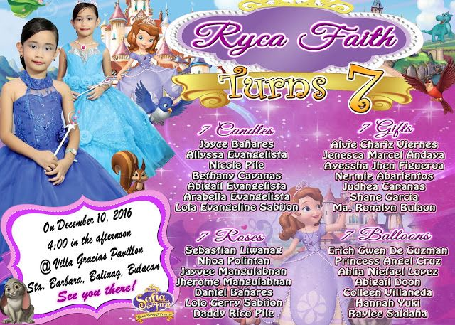 sample invitation template for seventh birthday sofia the