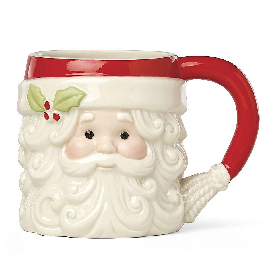 Lenox hosting the holidays figural santa mug red santa