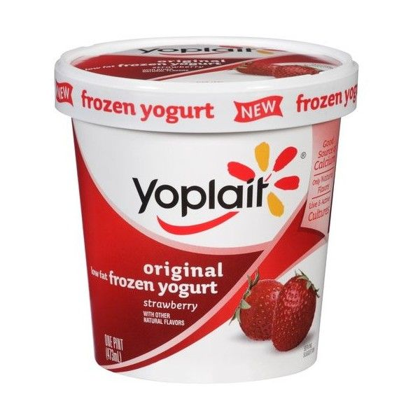 Yoplait Original Low Fat Strawberry Frozen Yogurt, 1 pt ❤ liked on Polyvore featuring food, comida and food and drink