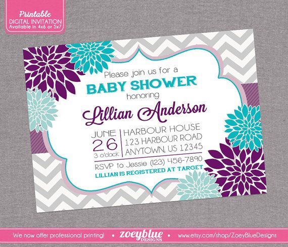 floral purple aqua blue baby shower invitation bridal grey chevron, Baby shower invitations