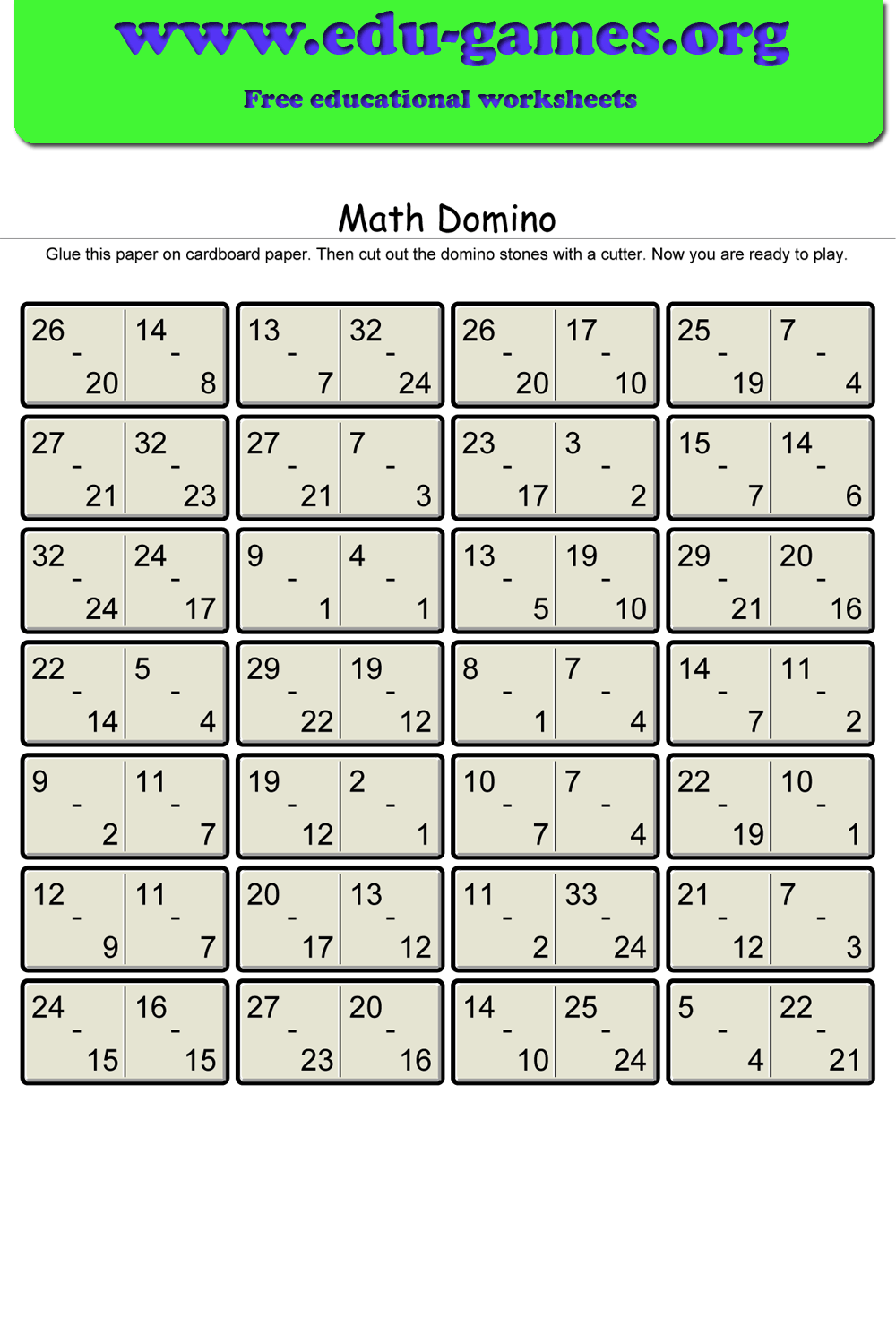 Math Domino Is Domino With A Math Twist Instead Of Spots On The Stone There Are Basic Arithmetic Problems This Game Is Fun Math Grade 6 Math Worksheets Free [ 1500 x 1000 Pixel ]
