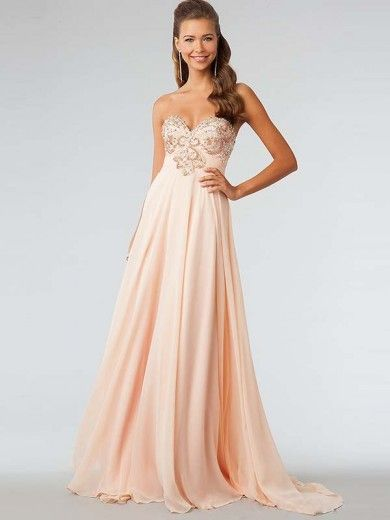 Charming A-Line/Princess Sleeveless Ruffles Sweetheart Chiffon Sweep/Brush Train Dresses