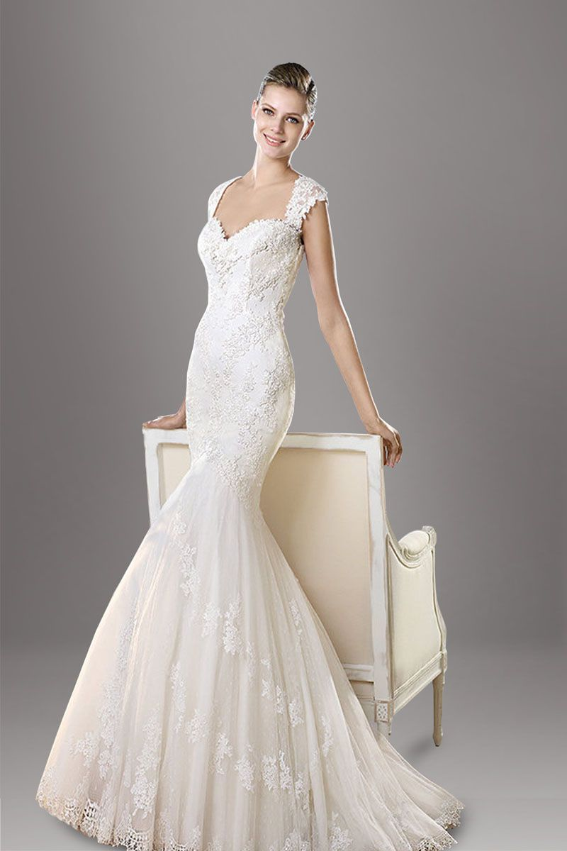 embeoidered sweetheart neck cap sleeve mermaid lace wedding dress ...