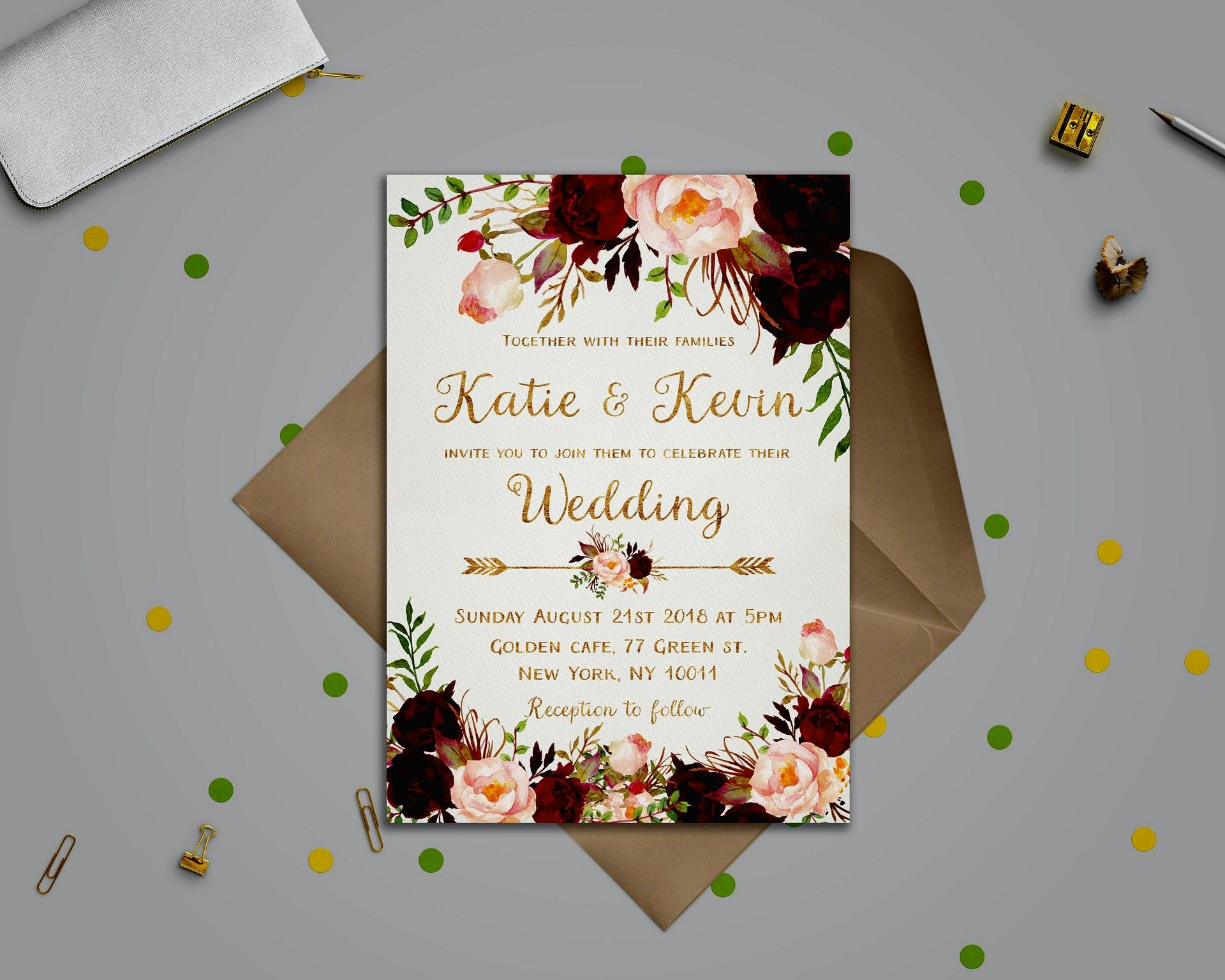 Creative Wedding Invitation Card Design Ideas In 2020 Etsy Wedding Invitations Free Wedding Invitation Templates Floral Wedding Invitations