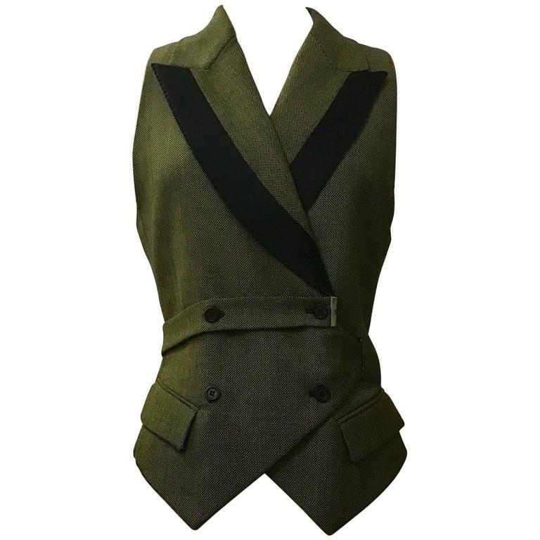 Alexander McQueen 2001 Runway Green and Black Belted Waistcoat Vest   1stdibs.com