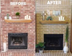 Image result for paint brick fire place wall white before and ...