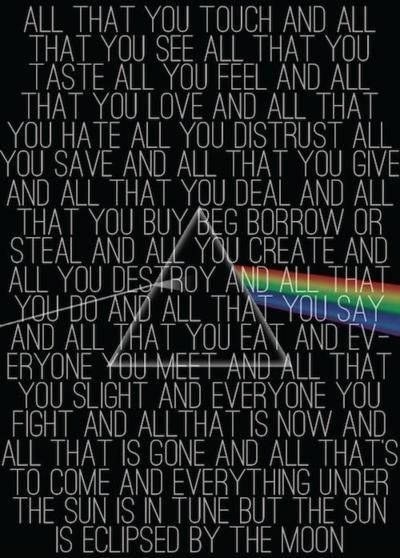 Eclipse Lyrics Off Dark Side Of The Moon Pink Floyd Lyrics I Love