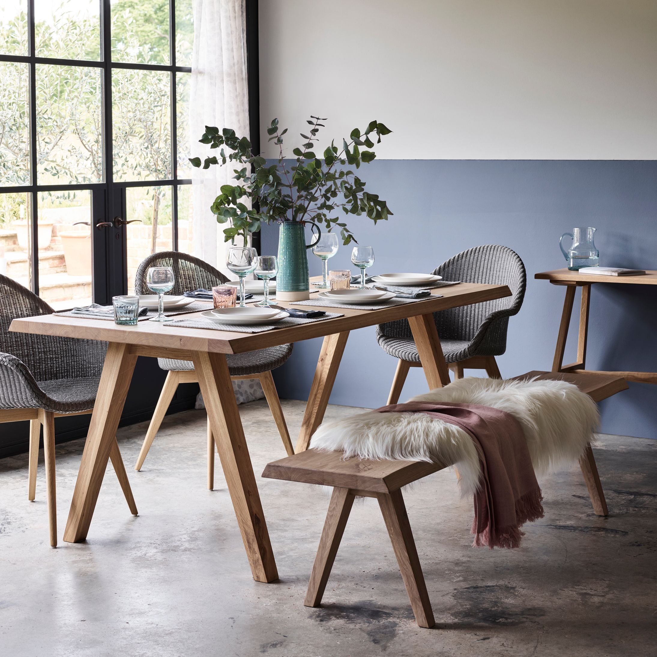 Croft Collection Easdale Lloyd Loom Dining Chair Quartz Grey Chair Collection Croft Dining Eas In 2020 6 Seater Dining Table Dining Room Bench Dining Table Chairs