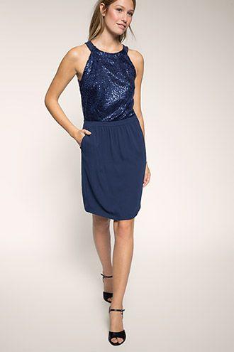 Esprit / Kleid im Materialmix mit Pailletten | Kleider ...