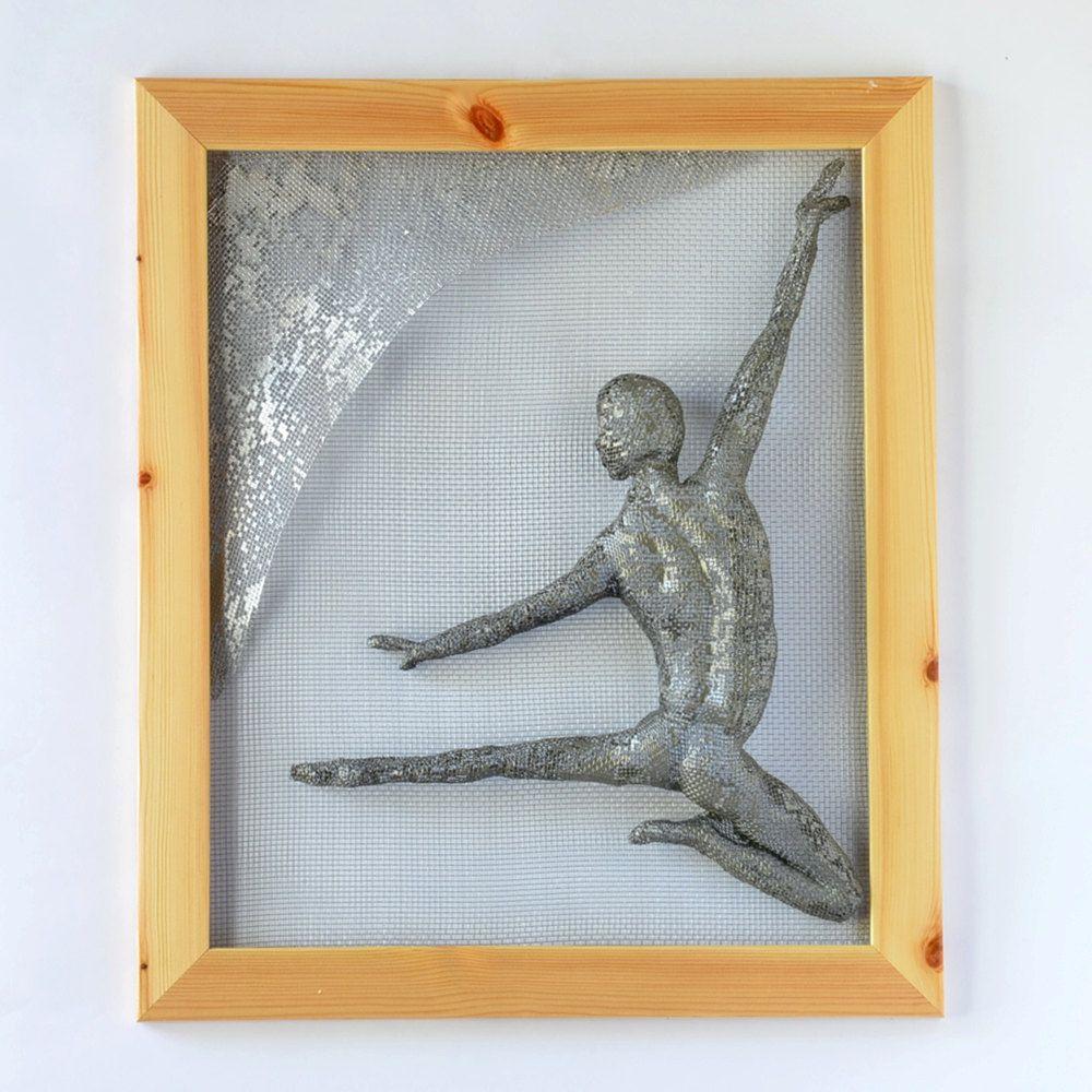 Metal wall art - dancing man - Framed art - Wire mesh sculpture ...