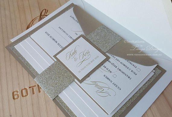 classic invitation champagne wedding invitation wrap bridal