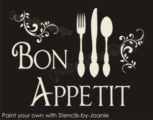 Sh98 STENCIL French Scroll Bon Appetit Fork Knife Spoon Eat Kitchen Signs
