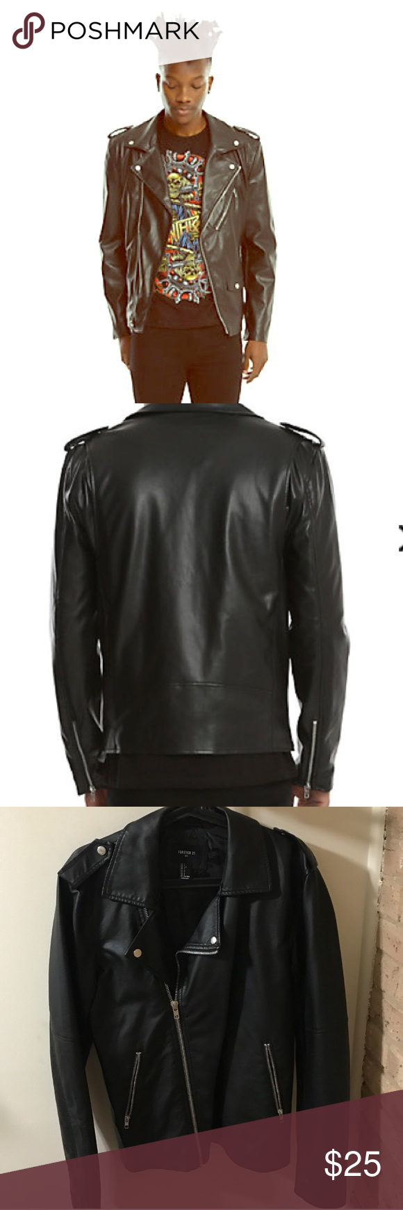 Forever 21 faux leather biker Moto jacket Men's size small