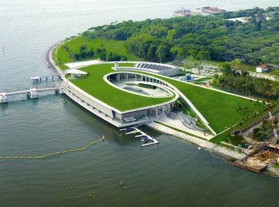 Marina Barrage Green Roof Singapore Grune Architektur Architektur Futuristische Architektur