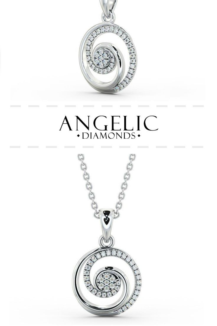 Cluster style diamond pendant 18k white gold abriana my cluster diamond pendant in 18k white gold this simple diamond pendant necklace features a spiral aloadofball Images