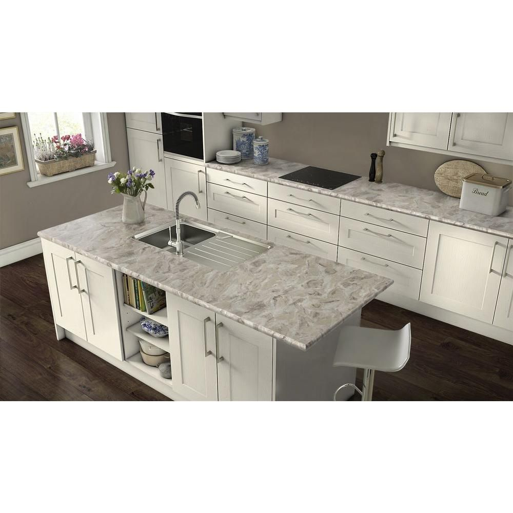 White Kitchen Cabinets With Cipollino Grigio Quarry Countertops