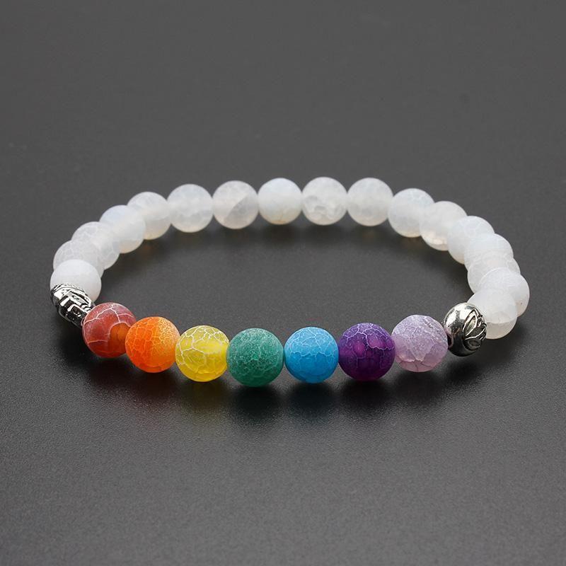 Seven Chakra White Sandstone Healing Bracelet
