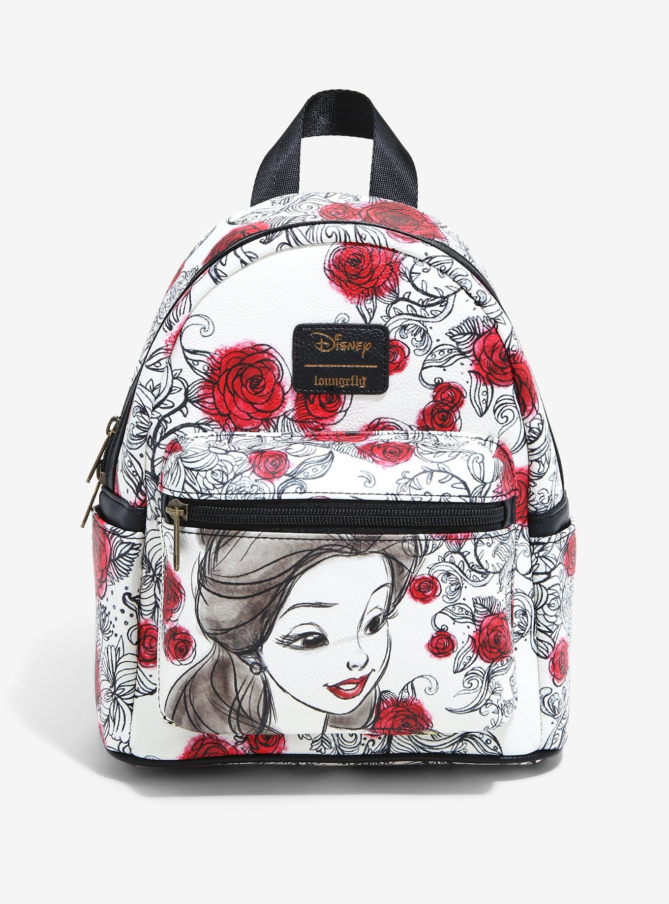 Loungefly disney beauty and the beast sketched roses mini