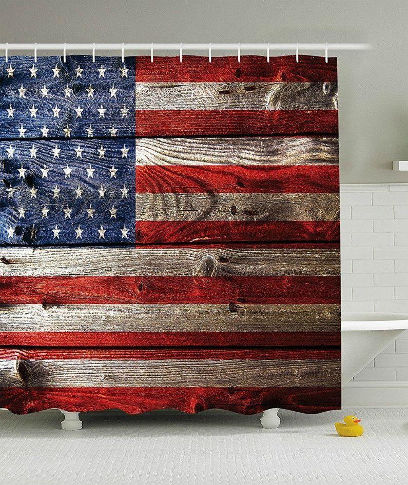 Americana Rustic Flag Shower Curtain | Design Styles - Rustic ...