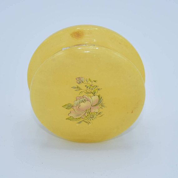 Lefton Yellow Alabaster Box Vintage Genuine Alabaster Made In