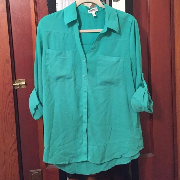 Express portofino shirt in teal Worn gently. Can dress up or down! Express Tops Button Down Shirts