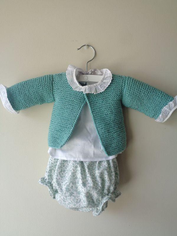 Conjunto de beb recien nacido de culotte camisita y - Patrones jerseys de punto hechos a mano ...
