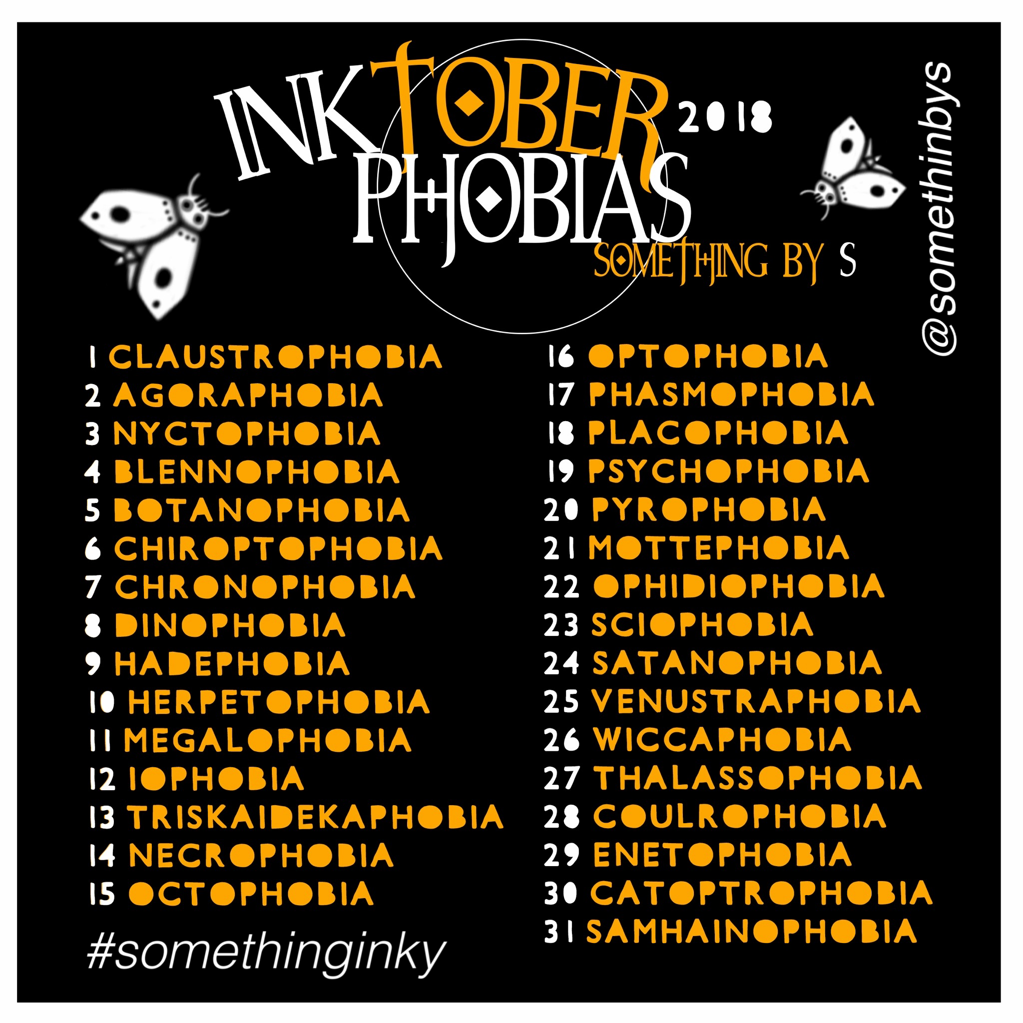 My inktober prompt for 2018! Phobias! Use the hashtag #somethinginky & tag me! #drawingprompts