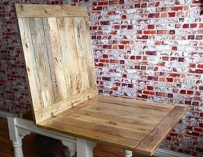 Extending Rustic Dining Table Drop Leaf Folding Ergonomic Space Saving Square