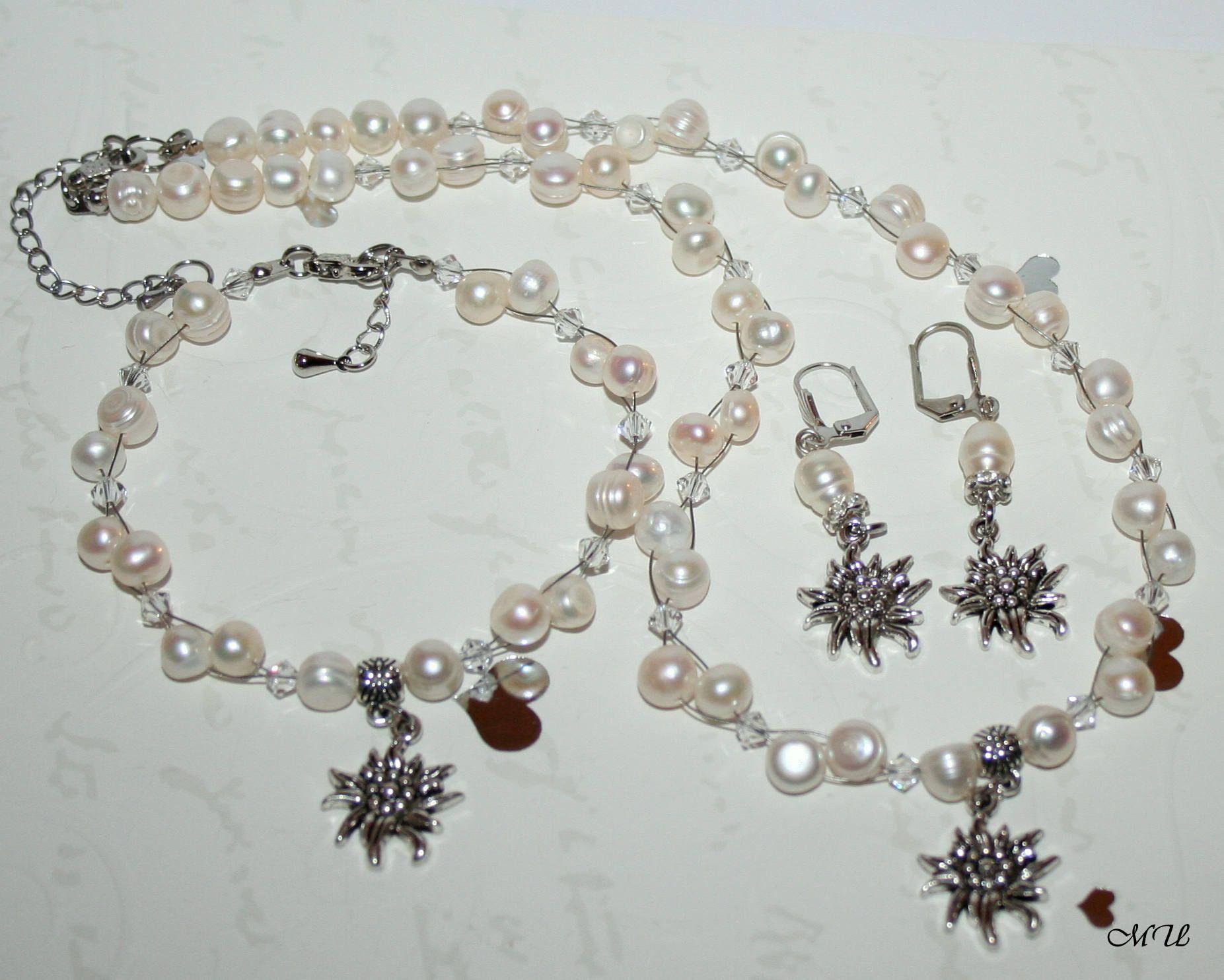 Beautiful White Crystal Necklace /& Bracelet Set