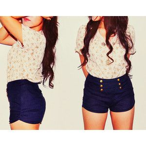 High Waisted Navy Blue Shorts